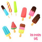 Vector cartoon ice cream set. Vector cartoon colorful cute ice cream on a stick icons with nuts and chocolate isolated on white set vector illustration