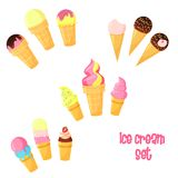 Vector cartoon ice cream set. Vector cartoon colorful cute waffle ice cream icons with berry and chocolate glaze isolated on white set stock illustration