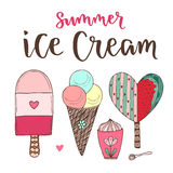 Vector cartoon ice cream set. Cones and cute icecream in doodle style.  Royalty Free Stock Photography