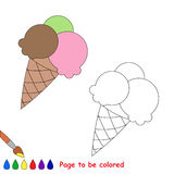 Vector cartoon ice-cream to be colored. Coloring book for children Stock Photography