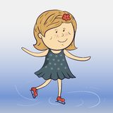 Vector cartoon ice skater Royalty Free Stock Image