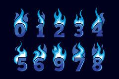 Vector cartoon icons set of blue Flaming Numbers Royalty Free Stock Images