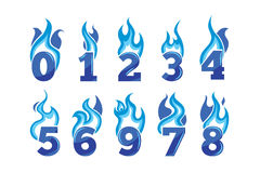 Vector cartoon icons set of blue Flaming Numbers Stock Images