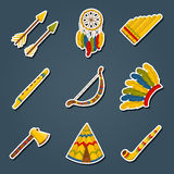 Vector cartoon icons: wigwam, flure, dreamcatche. Vector cartoon indian icons: wigwam, flure, dreamcatcher, axe. Native american tribal tradition with wigwam and Stock Images