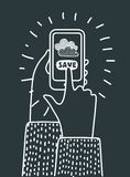 Communication technology concept with mobile phone. Vector cartoon illuatration of cloud computing and communication technology concept with mobile phone. Hand Stock Photography