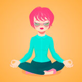 Vector Cartoon Illustartion Of A Young Businesswoman Meditating In The Lotus Position Stock Image