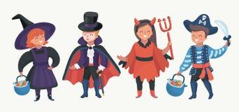 Happy kids in halloween costumes celebrating. Vector cartoon illustation of Funny halloween party design concept with happy halloween kids in halloween costumes royalty free illustration