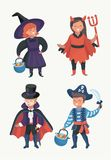 Happy excited kids in Halloween costumes stock illustration