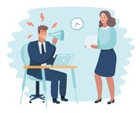 Angry boss and frightened employee. Vector cartoon illustration of angry boss and frightened employee. Man sitting at the table, woman bring pile of papers Royalty Free Stock Images