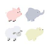 Vector cartoon illustration of baby animals including pig, elephant, bear, sheep. Stock Photos