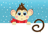 Vector cartoon illustration of a baby monkey holding a horizontal white banner. Vector cartoon illustration of a baby monkey holding a white horizontal banner Royalty Free Stock Photos