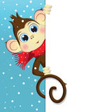 Vector cartoon illustration of a baby monkey holding a vertical white banner. Vector cartoon illustration of a baby monkey holding a white vertical banner Stock Photography