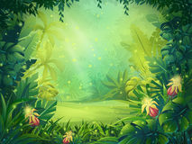 Vector cartoon illustration of background morning rainforest. Bright jungle with ferns and flowers. For design game, websites and mobile phones, printing