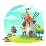 Vector cartoon illustration - background with a windmill Royalty Free Stock Photography