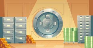 Vector bank vault background with money, gold. Vector cartoon illustration of bank vault inside, metallic iron safe door. Gold, cash, currency for financial Royalty Free Stock Photos