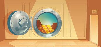 Vector background - bank vault door with gold. Vector cartoon illustration of bank vault, metallic iron safe door. Gold, cash, currency inside of room. Financial royalty free illustration