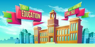 Eeducational background with university building. Vector cartoon illustration, banner, educational background with building educational institution and space for Stock Photos