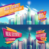 Vector cartoon illustration, banner, urban background with modern big city buildings. Set of vector cartoon illustrations, banners, urban backgrounds with modern Stock Image