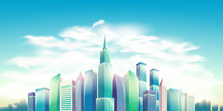Vector cartoon illustration, banner, urban background with modern big city buildings. Skyscrapers, business centers. City landscape Stock Image