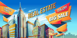 Vector cartoon illustration, banner, urban background with modern big city buildings. Skyscrapers, business centers and space for your text. Advertising banner Stock Image