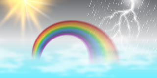 Vector cartoon illustration of a beautiful summer landscape with sun , rainbow , rain, thunder. Good for banner, poster and template Royalty Free Stock Image