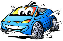 Vector Cartoon illustration of a blue Sports Car Mascot racing in full speed Stock Photo