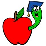 Bookworm in Apple. A vector cartoon illustration of a Bookworm in an Apple royalty free illustration