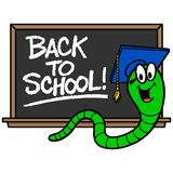 Bookworm and Blackboard. A vector cartoon illustration of a Bookworm and a blackboard vector illustration