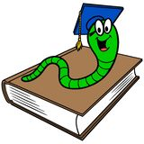 Bookworm and Book. A vector cartoon illustration of a Bookworm and a book royalty free illustration