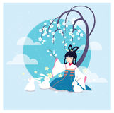 Vector cartoon illustration Chang'e legend in Mid autumn festival. The Chinese Goddess of Moon Chang'e, rabbits, moon, laurel tree. For greetings card, banner Royalty Free Stock Photo
