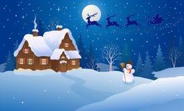 Cartoon christmas house vector illustration