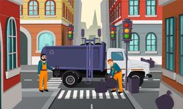 Vector cartoon city crossroad with garbage truck. Vector cartoon illustration of city crossroad with traffic lights, garbage truck and workers pick up black royalty free illustration