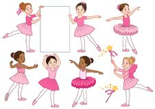 Vector cartoon illustration collection of cute multicultural lit. Tle ballerina girls characters wearing pink leotards and tutu skirts. Ballet, dance, creative Royalty Free Stock Images