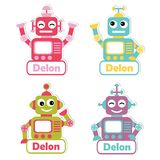 Colorful robot toys suitable for kid name tag set design. Vector cartoon illustration with colorful robot toys suitable for kid name tag set design, label name Stock Images