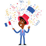 Vector cartoon illustration of confetti showering patriotic French businessman celebrating Bastille Day waving flag. Vector cartoon illustration of confetti royalty free illustration