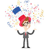 Vector cartoon illustration of confetti showering patriotic French businessman wearing hat celebrating Bastille Day. Isolated on white vector illustration