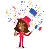 Vector cartoon illustration of confetti showering patriotic French woman celebrating the Fourteenth of July giving thumbs up. Isolated on white background stock illustration