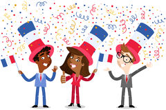 Vector cartoon illustration of confetti showering patriotic group of French business people celebrating Bastille Day Royalty Free Stock Photo