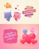 Vector cartoon illustration of couple cute cats. Stock Images