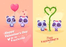 Vector cartoon illustration of couple cute panda. Stock Photo