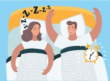 Couple sleeping in the bed together. Vector cartoon illustration of couple sleeping in the bed together. Man wake up in the morning, clock alarm sounds. Woman is Royalty Free Stock Photo