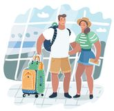 Young Couple traveling with travel bag, stock illustration