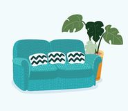 Sofa for modern living room reception. Vector cartoon illustration of cozy couch sofa for modern living room. Monstera plant in pot behind. Isolated object on Royalty Free Stock Images