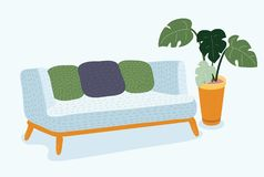 Sofa on a wooden frame for modern living room. Vector cartoon illustration of cozy couch sofa on a wooden frame for modern living room. Monstera plant in pot Royalty Free Stock Photos