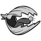 Clam Crazy Illustration. A vector cartoon illustration of a crazy Clam Cartoon Royalty Free Stock Image