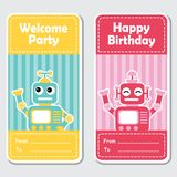 Cute blue and red robots on striped background suitable for birthday label design stock illustration