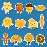 Vector cartoon bread characters Royalty Free Stock Images