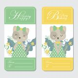 Cute cat and flowers suitable for Birthday card design. Vector cartoon illustration with cute cat and flowers suitable for Birthday card design, Invitation card Royalty Free Stock Images
