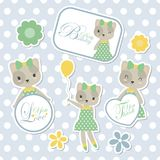Cute cat suitable for kid sticker set design. Vector cartoon illustration with cute cat suitable for kid sticker set design and gift tag Royalty Free Stock Image