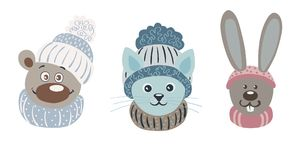 Vector cartoon illustration of cute characters. Bear, cat and hare in caps and scarfs. Hand drawn vector cartoon illustration of cute characters. Bear, cat and Stock Image